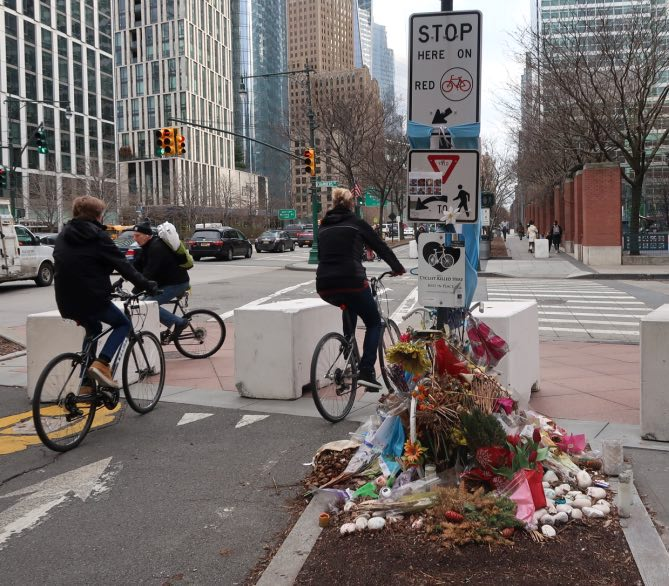 Ghost Bike Tribute, West Street, New York City